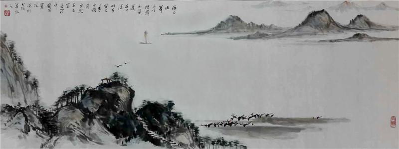 在东晋时期,山水画就在人物画的背景中出现,到了唐代,山水画逐渐发展